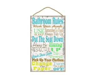 "Landry Room Rules Typography Sign Plaque 10""x16"""
