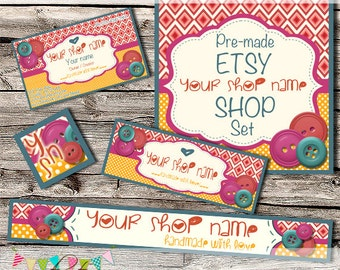 Etsy Shop Set - Premade Etsy Banner - Etsy Shop Banner - Etsy Cover - Etsy Shop Icon - Avatar - Button Baby Banner