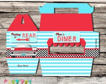 Retro 50's Diner Gift Box - Thank you Box - Favor Box - Printable - DIY - Packaging- Gable Box - INSTANT DOWNLOAD