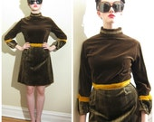 Vintage 1960s Mod Day Dress / 60s Velvet Mini Dress in Brown, Green, Mustard Yellow / Small