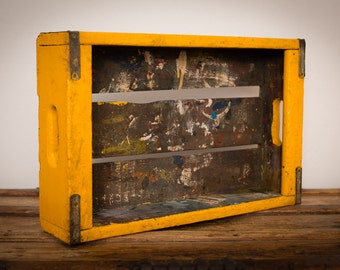 Dirty Painted Wood Crate Tray, Mustard Yellow, Paint Splatters, Vintage 60s