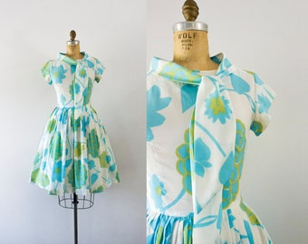 1960s Spring Arrival uplifting day dress / 60s garden party