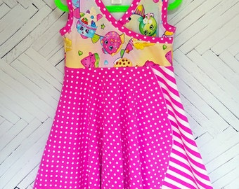 Shopkins inspired dress girls size 8 pink