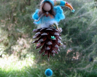 Needle felted mobile Waldorf inspired art doll turqouise fairy on cone
