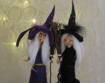 Halloween witch The purple sister Halloween home decoration Needle felted art doll OOAK