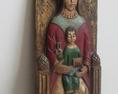 Vintage Madonna Child Jesus Carved Wood Folk Art From Museum Fernando 44 Barcelona Spain, Spanish Santos Religious Primitive Wall Plaque