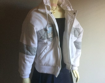 90s puffy reversible plastic zipper 1990s club kid hipster white cotton search and exploration compass pastel kawaii southwestern jacket S