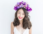 purple lilac full statement flower crown // Iona / floral headpiece spring garden party engagement wedding woodland blossom wildflower