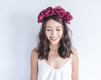 burgundy oversized rose headband // rose flower crown, maroon, floral headpiece, winter, fall, autumn, wine spring summer party