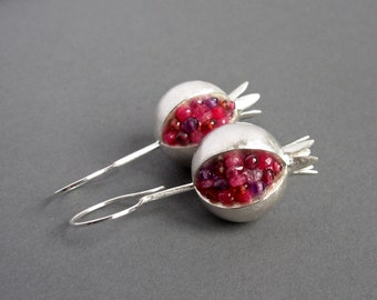 Pomegranate Earrings - Ruby Amethyst Garnet Silver Earrings - Pink Gemstone Earrings