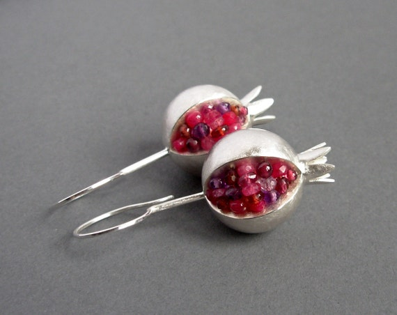 Pomegranate Earrings - Ruby silver Earrings - Pink Gemstone Earrings - Pomegranate Silver Earrings - silver earrings - pomegranate jewelry