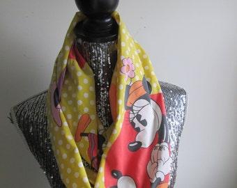 Vintage Mickey & Minnie Mouse Polka Dot Infinity Scarf