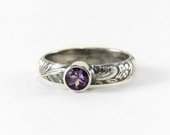 Custom Gemstone Birthstone Ring - Sterling Silver with Floral Pattern Band - Purple Amethyst February Birthstone - Engagement Promise Ring