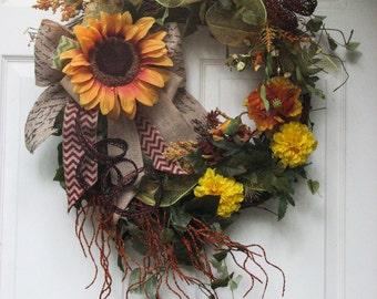 Fall Wreath, Sunflower Medallion, Front Door Wreath, Outdoor Door Wreath, Summer Wreath, Sunflower Wreath
