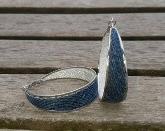 Denim Earrings- Denim hoop jean earrings w Diamond crystal glitter decal