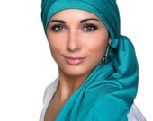 Emerald Teal Turban Head Wrap Alopecia Chemo Head Scarf, Hat & Scarf Set,Gift for Her, Gift for Cancer Survivor