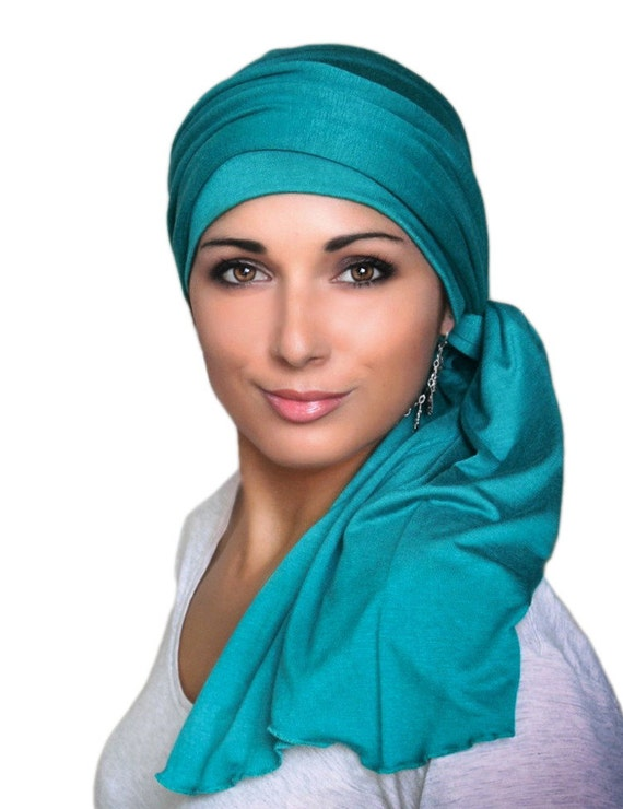 emerald teal turban wrap alopecia chemo scarf jersey