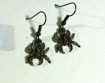 Black Halloween Spider Charm Earrings - Gunmetal Black Charms