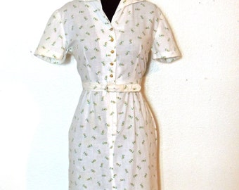 vintage yellow & white day dress - 1940s-50s white/yellow floral cotton belted dress
