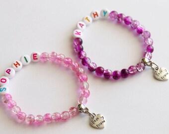 Best Friends Bracelets Stretchy, Girl Bracelet, Personalized Name Girl Gift, Crystal Ball Beads, Best Friends Gift, Girl Best Friends