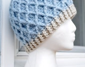 Crochet Lattice Hat - Light Blue, Jiffy