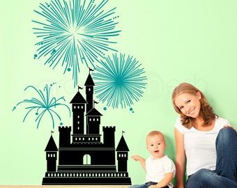CASTLE WITH FIREWORKS wall decals - Girls nursery art decor decal (38x56)