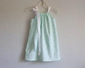 New! Girls Mint Green Pillowcase Dress - White Quatrefoil Print on Green - Flower Girl Dress - Size 12m, 18m, 2T, 3T, 4T, 5 or 6