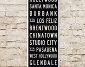SMALL LA Subway Sign, Los Angeles Bus Scroll, California Art Print, Canvas Transit Sign, Industrial Decor for the Home. 12 x 36