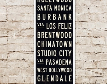 SMALL LA Subway Sign, Los Angeles Bus Scroll, Subway Art, California Art Print, Industrial Decor for the Home. Canvas or Wood. 12 x 36