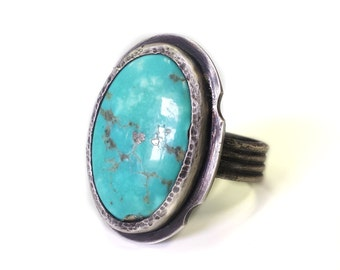 Oval Green Turquoise and Blackened Silver Ring - Size 9 - Arizona Sleeping Beauty Turquoise- Boho, Rustic
