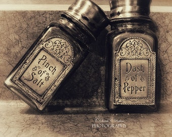 Kitchen Wall Art-Square Art-Salt-Pepper-Sepia Wall Decor-Salt & Pepper Shakers-Still Life-Fine Art Photograph-8x8/10x10/12x12/16x16/20x20