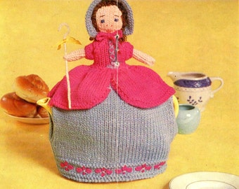 vintage knitting pattern teapot cozy tea cosy Little Bo Peep novelty cosies retro doll dress printable PDF download 1960