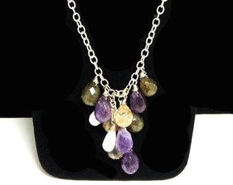 Dangling Gemstones Necklace - Teardrop Shaped Faceted Amethyst, Citrine, Green Jade & Mother of Pearl Beads - Signed J.Jill
