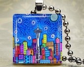 Seattle City Skyline Necklace Folk Art Jewelry - Washington Space Needle Pendant Glass Gift Art Heather Galler Gift-  Travel Abstract Modern
