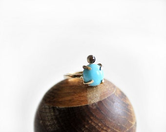 TURQUOISE + TOPAZ Gold Ring