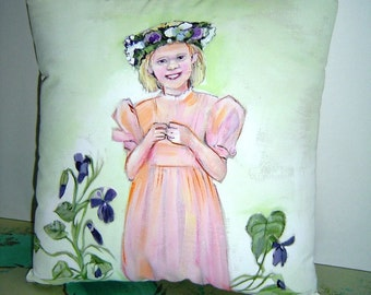 Flower Girl - Hand Painted 12x12 Pillow - Spring Violets- Little Girl in Floral Crown - Merry Month of May Wedding Pillow Gift - Art Pillow