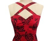 Red Rose Cross strap top