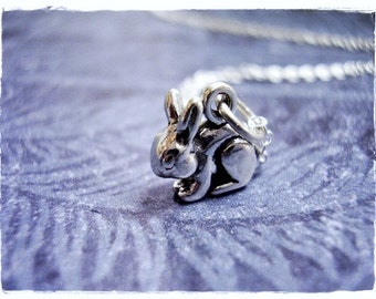 Silver Bunny Rabbit Necklace - Sterling Silver Bunny Rabbit Charm on a Delicate Sterling Silver Cable Chain or Charm Only