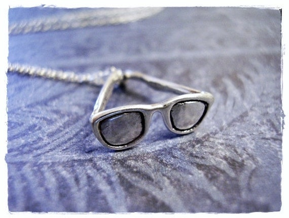 Tiny Sunglasses Necklace - Sterling Silver Sunglasses Charm on a Delicate Sterling Silver Cable Chain or Charm Only