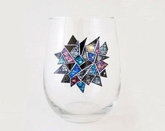 Galaxy Mosaic Hand Painted Wine Glass - Cosmos - Universe Theme Dinnerware