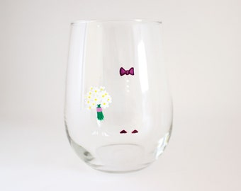 Bride and Groom - Hand Painted Wine Glass