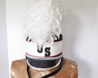Vintage Marching Band Hat Flat Top Shako with White Feather Plume