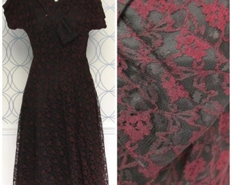 50s Vintage Black Cocktail Dress with Red Lace Overlay Fit and Flare Short Sleeve Dress Medium 10