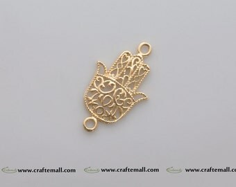 1 Vermeil Hamsa charm (24k gold plated over sterling silver) - Gold Hamsa connector 31mm - canlc004-yv