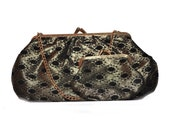 Vintage Black and Gold Evening Bag and Coin Purse. Clutch. Cosmetic.