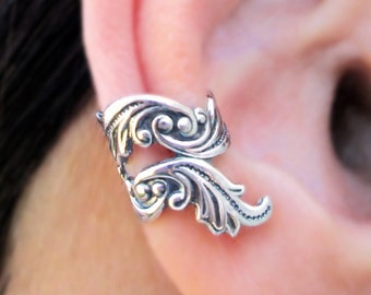 Dancing Feather ear cuff No.2 Sterling Silver earrings Feather jewelry Feather earrings Sterling silver ear cuff Small clip  C-206207
