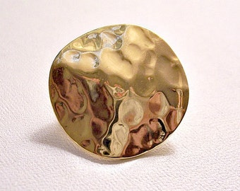 Monet Hammered Disc Single Replacement Clip On Earring Gold Tone Vintage Waved Textured Button Comfort Paddle Only One