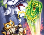 Ghostbuster Cats - Venkcat, Stay Puft Marshmallow Cat and Slimer Kitty