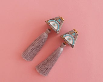 "Eye Earrings // Geometric Earrings // Tassel Earrings // LAST PAIR // Geometric Jewelry // The ""Expansions"""
