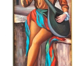 Vintage Art Wall Hanging of Girl Mid Century! 1960's!
